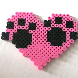 Perler Beads Heart w/ Paw Print Magnet or Keychain